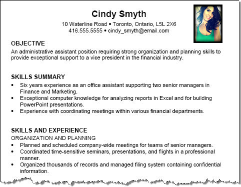 proper way to use photo on resume thumbnail
